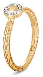 John Hardy 18K Yellow Gold Dot Pave Diamond Circle Ring