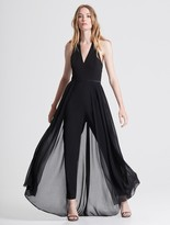 Halston Halter Neck Crepe Jumpsuit with Georgette Overlay