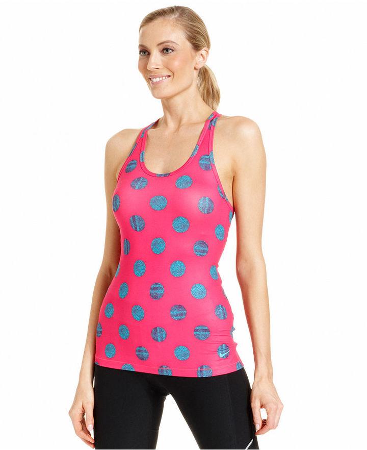 Nike Top, G87 Sleeveless Dri-FIT Dot-Print Tank