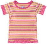 Kickee Pants Print Lace Tee (Toddler/Kid) - Island Stripe-2T