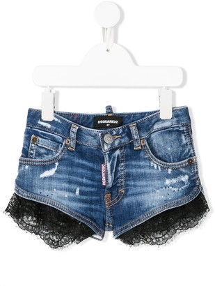 DSQUARED2 Lace Trim Denim Shorts