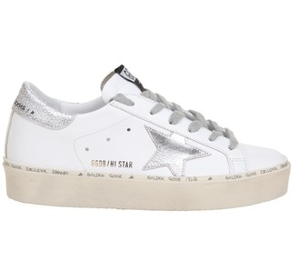 Golden Goose Hi Star In White Leather