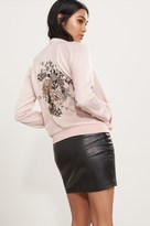 Dynamite Embroidered Satin Bomber Jacket