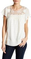 Daniel Rainn Flutter Sleeve Crochet Shirt (Petite)