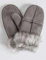 M&S Collection Fur Mitten Gloves