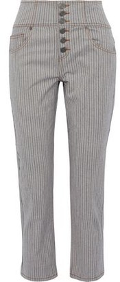 Joie Laurelle Pinstriped Stretch Cotton-twill Straight-leg Pants