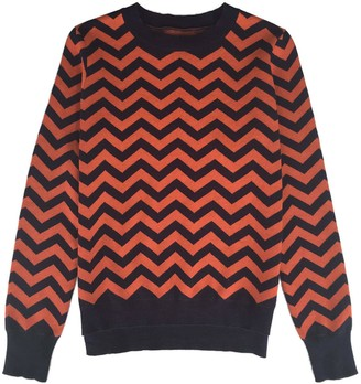 Iggy & Burt Chevron Crew Neck Jumper Navy & Orange
