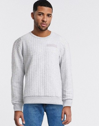 Jack and Jones Core textured sweat in light gray