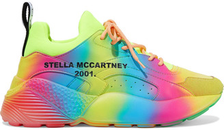 Stella McCartney Eclypse Neon Neoprene, Faux Leather And Suede Exaggerated-sole Sneakers