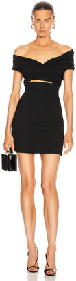 Dolce & Gabbana Off the Shoulder Mini Dress in Black | FWRD
