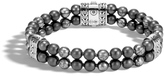 John Hardy Men's Chain Double Row Bead Bracelet, Sterling Silver with 6MM Hematite