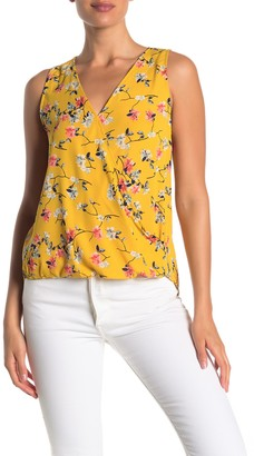 WEST KEI Floral Print Surplice Neck Top