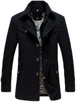 NiSeng Men's Winter Trench Coat Mutipocket Wool Blend Pea Coats