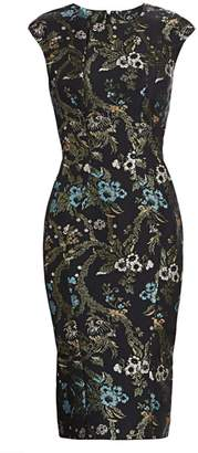 Zac Posen Lurex Garden Jacquard Cocktail Dress