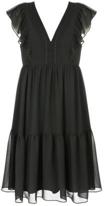 Naf Naf Ruffled Short Boho Dress with Voile Layer