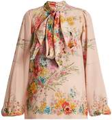 No.21 NO. 21 Floral-print pussybow-neck silk blouse