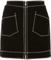 McQ Embroidered Stretch-jersey Mini Skirt - Black
