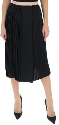 Gucci Contrasting Trim Pleated Skirt
