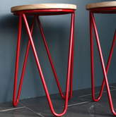 The Forest & Co Hairpin Legged Stool In Red