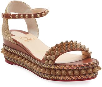 Christian Louboutin Cordorella 60mm Spike Wedge Red Sole Sandals