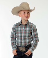 Roper Gray Shadow Plaid Pocket Button-Up - Boys