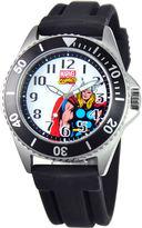 Marvel Disney Honor Mens Thor Black Silicone Strap Watch