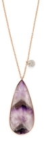 Meira T 14K Rose Gold, Rough Amethyst & 0.12 Total Ct. Diamond Pendant Necklace