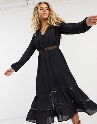 Vila lace insert boho dress in black