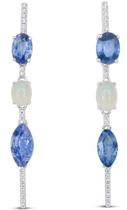 Ri Noor Mismatched Blue Sapphire Opal & Diamond Bar Earrings