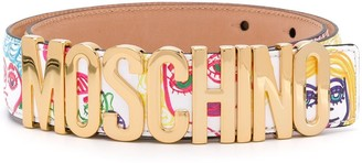 Moschino Faces logo belt