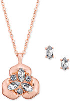 Charter Club Rose Gold-Tone Clear Stone Pendant Necklace and Earrings Set, Created for Macy's