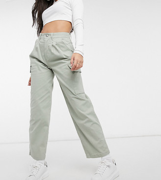 ASOS DESIGN Petite chino pants with cargo pockets in sage