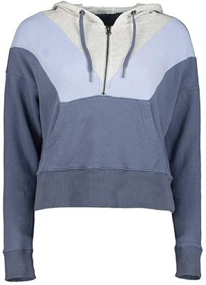 Mod-o-doc Cashmere French Terry Color Block 1/2 Zip Hoodie (Indigo Ink Color Block) Women's Clothing