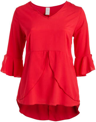 Seven Karat Women's Tunics red - Red Bell-Sleeve Ruffle Peplum Tunic - Plus