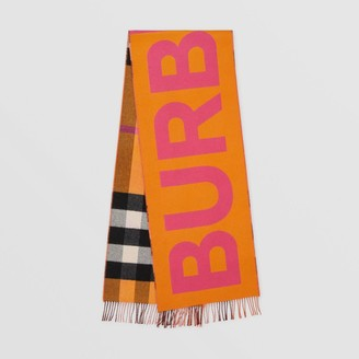 Burberry Reversible Check and Logo Cashmere Scarf
