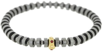 Luis Morais 14kt Yellow Gold, Ruby And Grey Bead Bracelet
