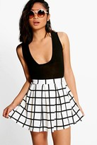boohoo Petite Erin Checked Box Pleat Skater Skirt