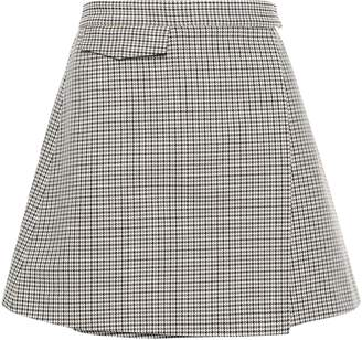 Theory Fremont Cotton And Wool-blend Mini Wrap Skirt