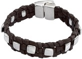 Uno de 50 Cool & Collected Studded Braided Black Leather Bracelet
