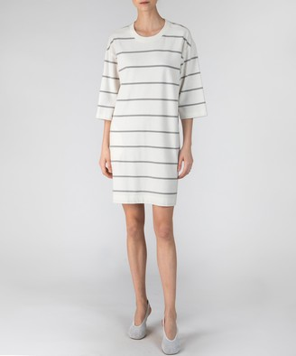 Atm Plaited Jersey Stripe Dress - Chalk/ Smoke Stripe