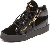 Giuseppe Zanotti Leather and Velvet Sneakers