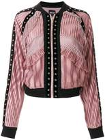 Just Cavalli lace panel bomber jacket