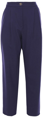 Boutique Moschino Cropped Pleated Twill Tapered Pants