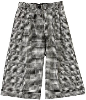 Dolce & Gabbana Wide Leg Wool Blend Houndstooth Pants