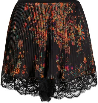 Paco Rabanne Pleated Lace Trim Shorts