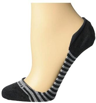 Feetures Hidden Super Low Stripes (Charcoal) Women's No Show Socks Shoes