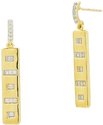 Freida Rothman Radiance 14K Gold Clad CZ Linear Drop Earrings