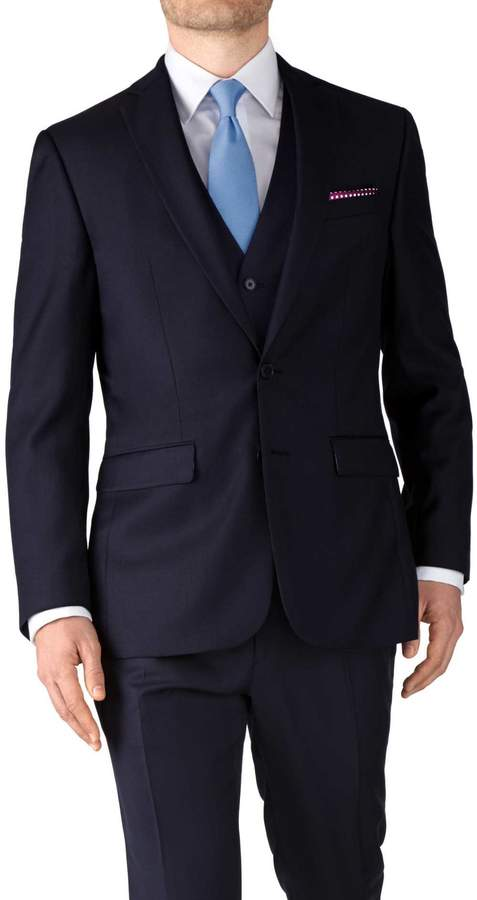 Charles Tyrwhitt Navy Slim Fit Twill Business Suit Wool Jacket Size 36