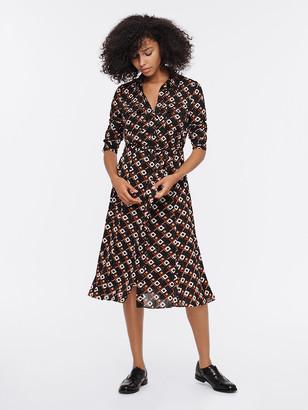 Diane von Furstenberg Andi Mesh Midi Shirt Dress