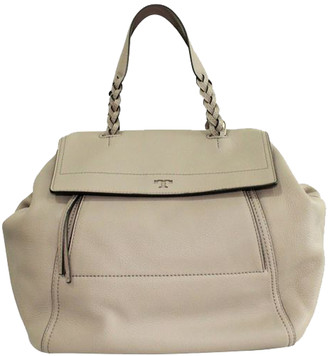 Tory Burch Beige Leather Braided Hip Top Handle Bag